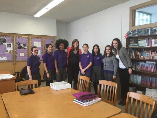 Melissa and Kathryn connecting with Josephinum students on International Women's Day 2016